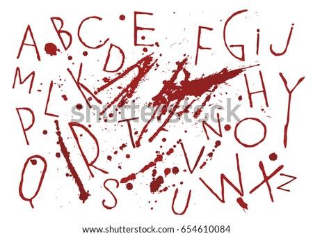 red bloody capital handwritten