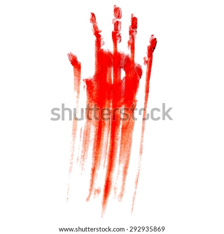red bloody handprint on a white
