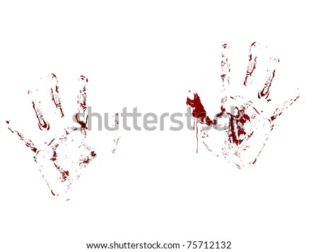 Red bloody handprints on white background