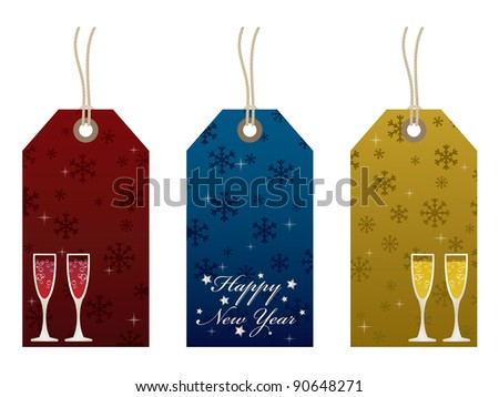 red, blue and gold new years tags isolated on white