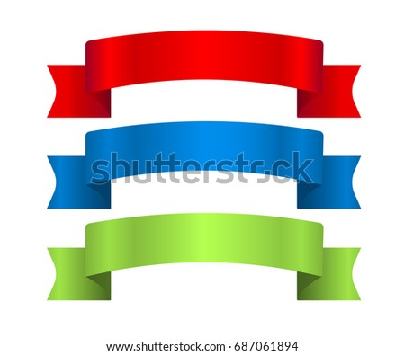 Red, blue and green ribbons set. Satin blank banners collection. Design label scroll blanks element, isolated white background.