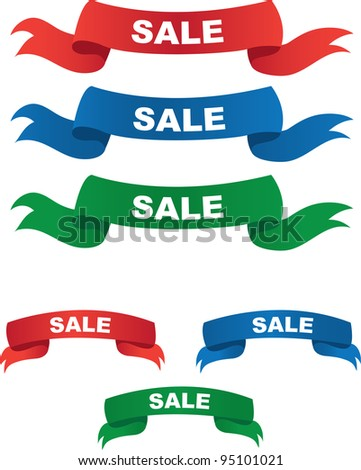 Red, Blue and Green Sale Banners