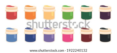Red, Blue and Yellow Colored Paint Cans. Jars of gouache. Paint. Gouache. Jar. Dye. Acrylic. Flat style vector illustration isolated on white background. ストックフォト ©