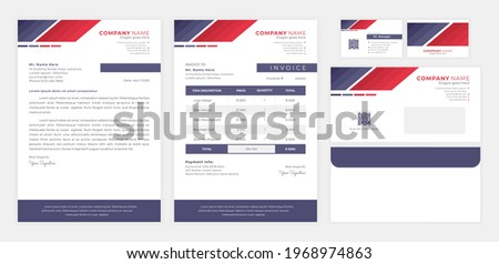 red blue corporate identity, including letterhead, invoice, envelop and business card