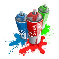 Red, Blue, Green paint spray.