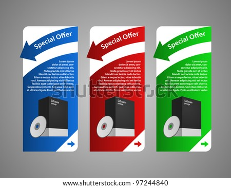 Red, Blue, Green Software Banner Set with box and cd or dvd