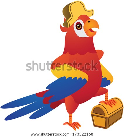 Red Blue Parrot Vector Cartoon Illustration