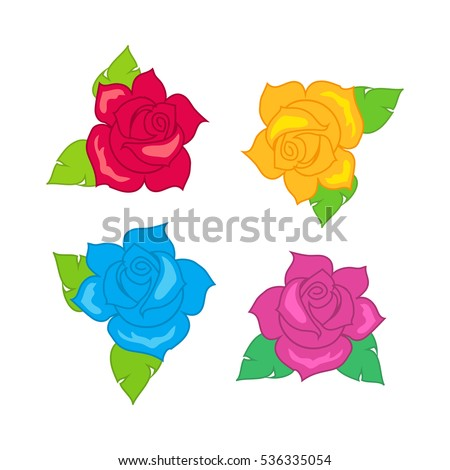 red blue pink purple rose with