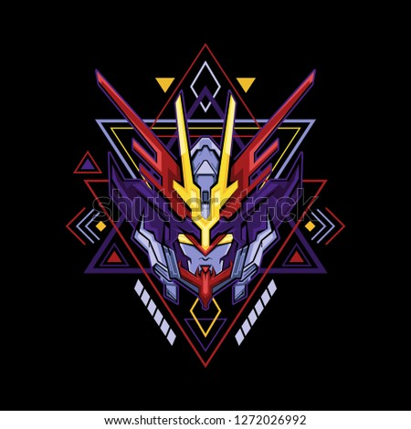 red blue robot sacred geometry