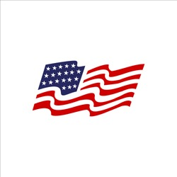 red blue star and stripes america US flag logo design . USA flags elements vector icons template