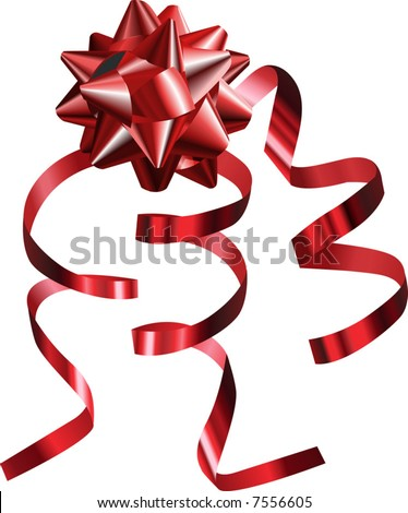 Red Bow. A vector illustration of a pretty shiny red bow with ribbons, no meshes used