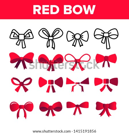Red Bow And Ribbon Vector Color Icons Set. Decorative Bow, Female Hair and Clothes Accessories Linear Symbols Pack. Presents And Festive Gifts Packaging Decor Isolated Flat Illustrations