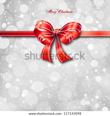 Red bow on a magical Christmas card. Vector illustration