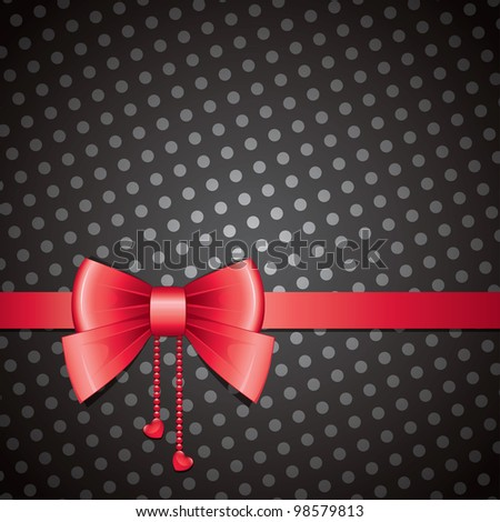 red bow on black background, old-fashioned, vector eps-10