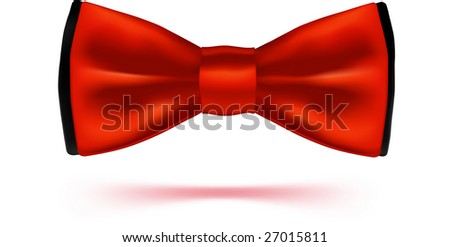Red bow-tie with. VECTOR, made with gradient mesh.