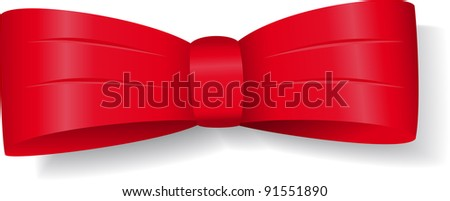 Red bow with shadow for decoration and design