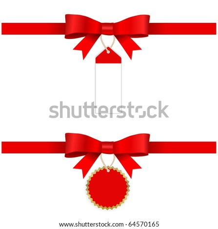 red bow with tags