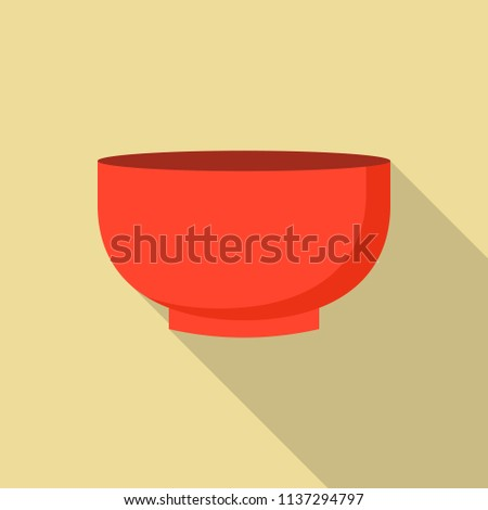 Red bowl icon. Flat illustration of red bowl vector icon for web design