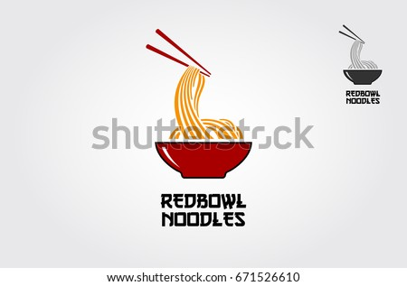 Red bowl Noodles Logo Templates. Suitable for any business related to ramen, noodles, fast food restaurants, Korean food, Japanese food or any other business on a white background.