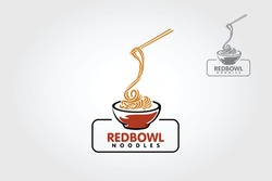 Red Bowl Noodles Vector Logo Illustration. The illustration suitable for any business related to ramen, noodles, fast food restaurant, or any other business related.