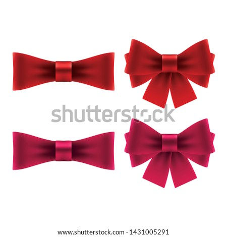 Red bows with ribbons. Isolated bow icons on white background.