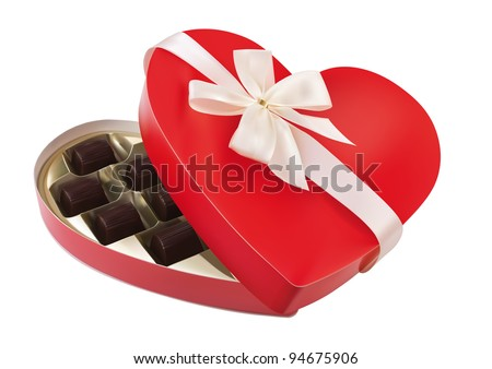 red box in heart shape with bow on white