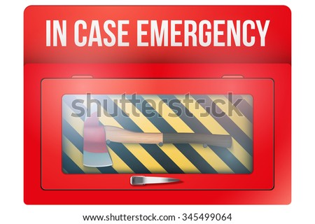 red box with axe in case of