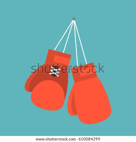 Red boxing gloves hanging on nail of wall, flat design icon