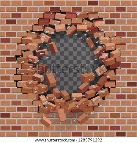 Red brick break wall hole destruction transparent template background vector illustration