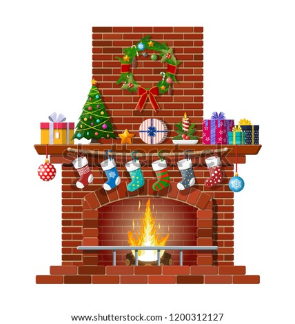 red brick classic fireplace