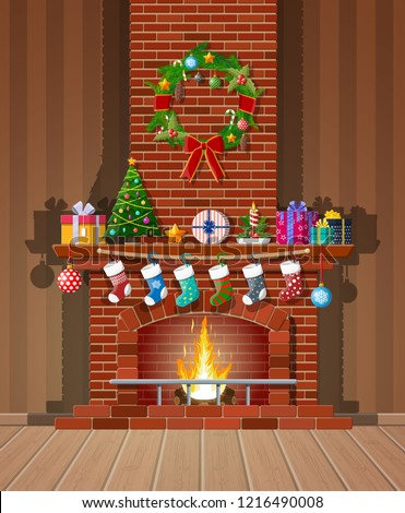 Red brick classic fireplace with socks, christmas tree, candle balls gifts and wreath. Happy new year decoration. Merry christmas holiday. New year and xmas celebration. Vector illustration flat style