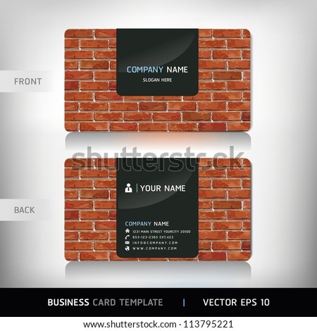 Red Brick Wall Business Card . Vector illustration.