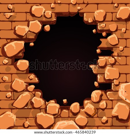 red brick wall with hole vector