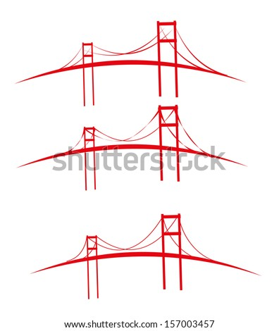 red bridges vector art
