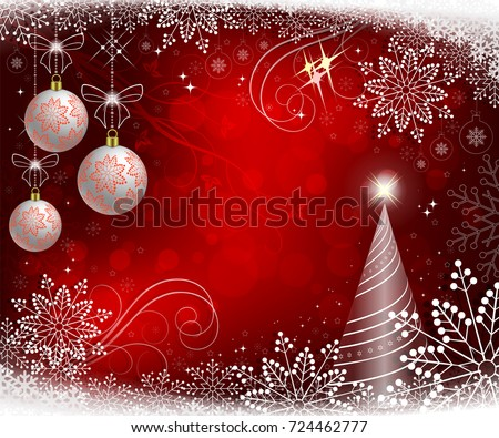 red bright christmas background with white balls with snowflakes and christmas tree