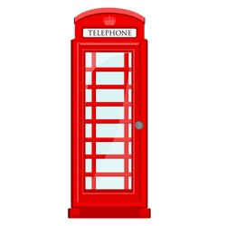 Red, britain, old telephone box vector icon isolated