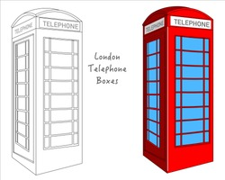 Red  British Phone Booth. England, London telephone kiosk.  Black white, technic draw sketch and red colored  call box. Britain telephone booth, UK classic culture objects. Outline draw