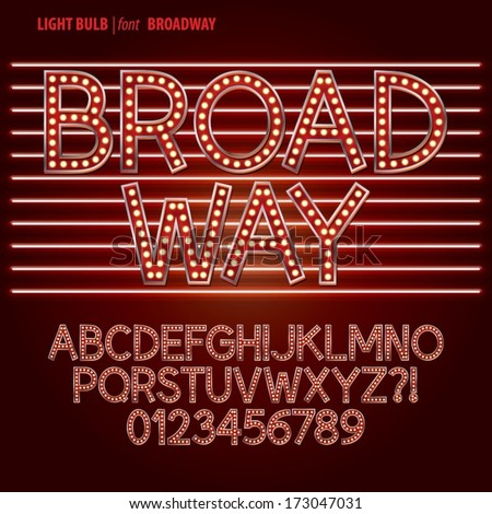 Red Broadway Light Bulb Alphabet and Digit Vector