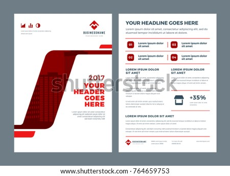Red brochure annual report flyer design template, vector abstract flat background with logo design.