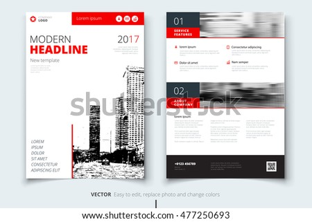 Red Brochure modern cover design. Corporate business template for Annual Report, Catalog or Magazine. Brochure Layout with abstract triangular background. Creative poster or flyer concept