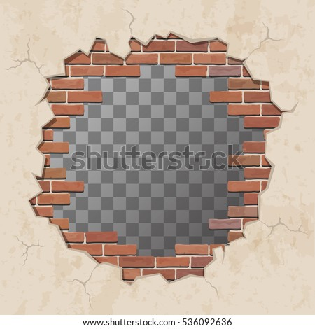 Red broken brick wall with hole. Shabby plaster and shattered brickwork. Vector illustration.