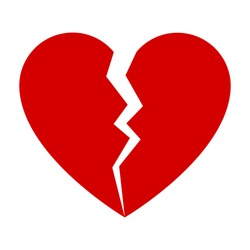 Red broken heart. Flat icon for apps and websites. Vector illustration.