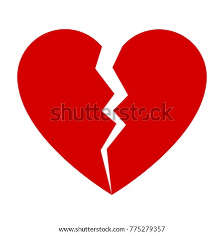 red broken heart flat icon for
