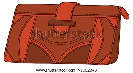 Red-brown mens stylish leather wallet for money. Vector
