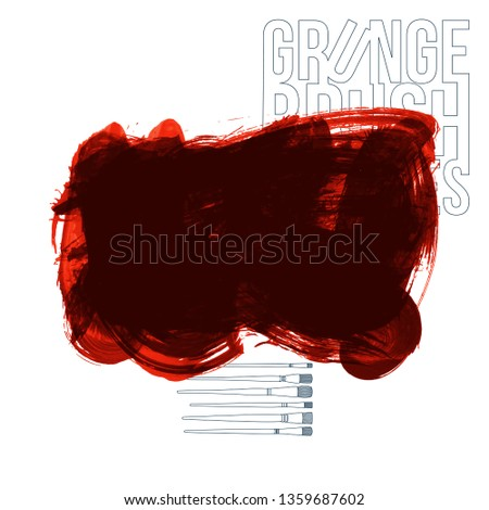Red brush stroke and texture. Grunge vector abstract hand - painted element. Underline and border design. #1359687602