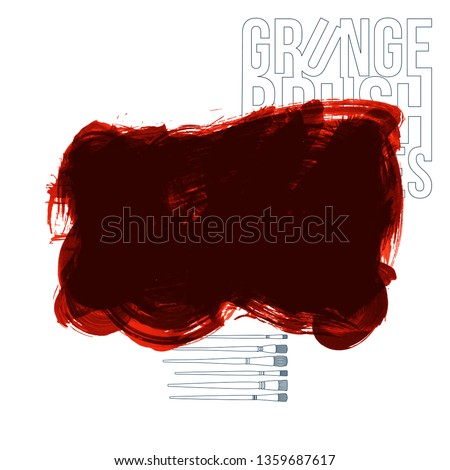 Red brush stroke and texture. Grunge vector abstract hand - painted element. Underline and border design. #1359687617