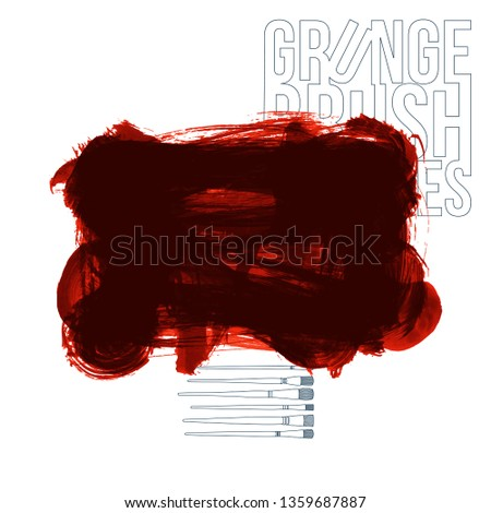 Red brush stroke and texture. Grunge vector abstract hand - painted element. Underline and border design. #1359687887