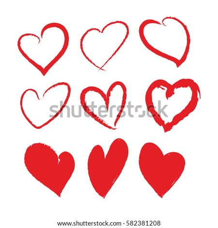 Red Brush Stroke Hearts Set Hand Drawn Design Element For