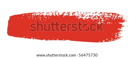 Red brush stroke isolated on white background