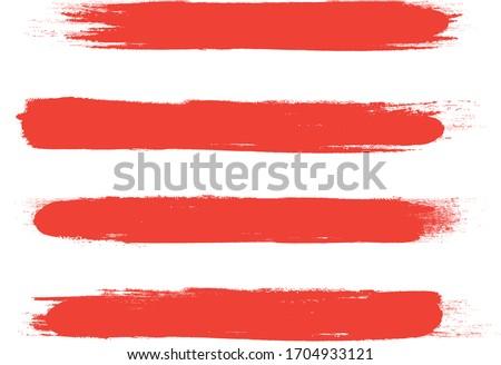 Red brush stroke set isolated on white background. Trendy brush stroke vector for red ink paint, grunge backdrop, dirt banner, watercolor design and dirty texture. Brush stroke vector illustration